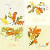 Set of autumn background Stock Photos
