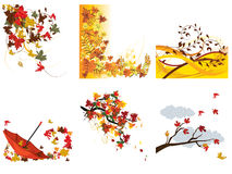 Set of autumn backgrounds Royalty Free Stock Photo