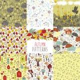 Set of autumn backgrounds Royalty Free Stock Image