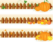 Set of autumn banners. With orange pumpkins and orange, red, yellow apples Royalty Free Stock Photography