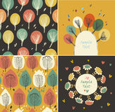 Set of autumn banners with leaves and flowers Stock Photo