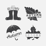 Set of autumn black emblems on the white background. With a leaf, umbrella, leaves, acorns and boots. Welcome and the weather. Vector illustration Royalty Free Illustration