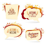 Set autumn bubbles. For the presentation, commerce. Promotion. Autumn leaves and logos. Vector Stock Photos