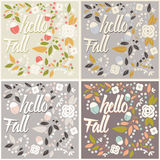 Set of autumn card designs with floral frame and message Royalty Free Stock Photos