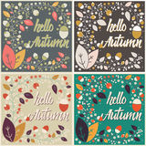 Set of autumn card designs with floral frame and message Royalty Free Stock Images