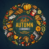 Set of Autumn cartoon doodle objects, symbols and items Royalty Free Stock Photography