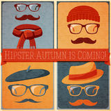 Set of autumn dressed hipster faces on the grunge Royalty Free Stock Images