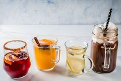 Set of 4 autumn drinks stock photography
