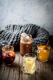 Set of 4 autumn drinks stock photo
