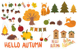 A set of autumn elements. Collection of autumn animals and plants. Vector illustration in a cartoon style. stock illustration