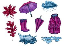 Set of autumn elements. Dark pink boots, umbrella rain coat, puddle, rain cloud, water splashes. Watercolor hand drawn illustration. Autumn rain cloth stock illustration