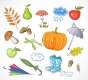 Set of autumn elements. Vector illustration. Royalty Free Stock Photos