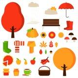 Set of autumn fall elements or symbols. Stock Photo