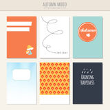 Set of autumn fall greeting, journaling cards,. Illustration backgrounds royalty free illustration