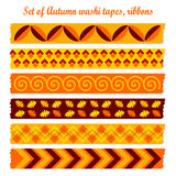 Set of autumn fall vintage washi tapes, ribbons Stock Photos