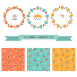 Set of autumn floral wreaths and seamless patterns. Stock Photo