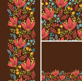Set of autumn flowers seamless pattern and borders Stock Images