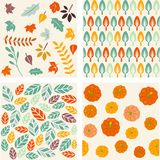 Set of autumn forest patterns. Vector illustration Royalty Free Stock Images