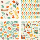 Set of autumn forest patterns. Royalty Free Stock Photos