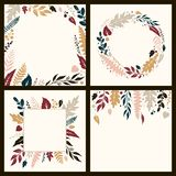 Set of autumn frames from hand-painted leaves Vector Illustration