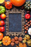 Set of autumn harvest around a carved frame top view Stock Photography