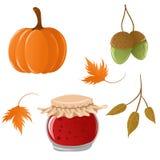 Set of autumn icons. Cute cartoon set of autumn icons Stock Image