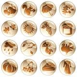 Set of autumn icons Stock Image