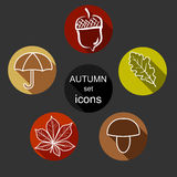 Set autumn icons Stock Photos