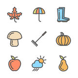 Set of autumn icons. Collection of linear colored symbols with fall objects Royalty Free Stock Images