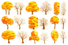 Set of autumn isolated trees on a white background. Vector illustration. Trees of different shapes and sizes with a yellow foliage, branches, leaves. Objects royalty free illustration