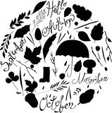 Set of autumn items. black and white silhouettes. illustration  leaves, branches, rain,  characters. inscriptions Royalty Free Stock Images