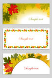 Set of autumn leaves background. Set of school banners with sample text place for your message. Autumn leaves background.Vector illustration Stock Photography