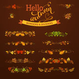 Set of autumn leaves borders, page decorations and dividers. Swirls and flourishes. Vector nature design elements on dark brown background. Oak, rowan, maple stock illustration
