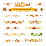 Set of autumn leaves borders, page decorations and dividers. Vector nature design elements on white background. Oak, rowan, maple, chestnut, elm leaves and royalty free illustration