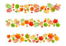 Set of autumn leaves borders Stock Image