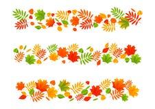 Set of autumn leaves borders Stock Image