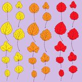 Set of autumn leaves with different colors Stock Photography