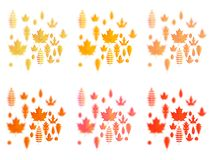 Set of autumn leaves or fall foliage icons. Maple, oak or birch and rowan tree leaf. Falling poplar, beech or elm and royalty free illustration