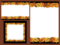 Set of autumn leaves frames. Set of three autumn leaves frames isolated on brown background.Useful also as greeting cards.EPS file available Stock Photography