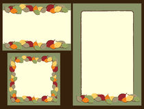 Set of autumn leaves frames. Set of three autumn leaves frames isolated on brown background.Useful also as greeting cards.EPS file available vector illustration