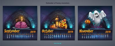 Set of autumn months calendar 2019 royalty free illustration