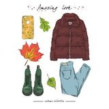 A set of autumn outfit with accessories:down jacket, lace-up boo stock illustration