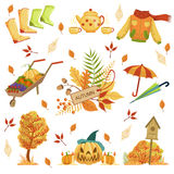 Set Of Autumn Related Objects Royalty Free Stock Photography