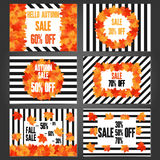 Set of autumn sale banners and promotional  flyer templates. Typography discount cards design. Posters for advertising Royalty Free Stock Image