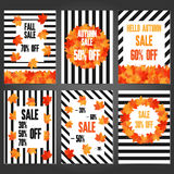 Set of autumn sale banners and promotional  flyer templates. Typography discount cards design. Posters for advertising Royalty Free Stock Photos
