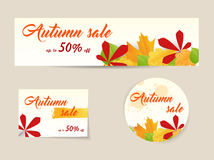 Set of autumn sale banners Royalty Free Stock Photo