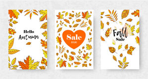 Set of Autumn sale flyer template with orange leaves. Fall promotion. Poster, banner, card, label, and other design. Stock Images