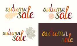 Set of Autumn sale inscription Royalty Free Stock Images