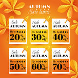 Set with Autumn sale labels with chestnut leaves. Vector illustration. EPS 10 vector illustration