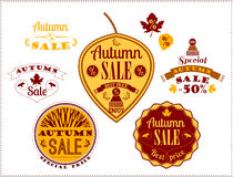 Set of Autumn Sale Labels and Signs Royalty Free Stock Image